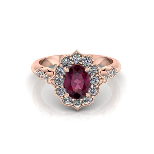 Oval Rhodolite Rose Gold Ring