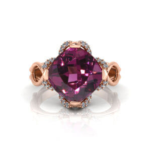 Rose Gold Rhodolite Ring
