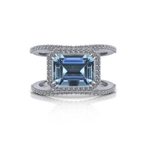 Emerald Cut Aquamarine Halo Ring