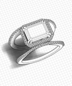 Emerald Cut Aquamarine Halo Ring