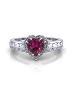 Garnet Heart Ring