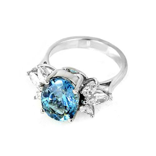 Aquamarine Diamond Cluster Ring Jewelry Designs