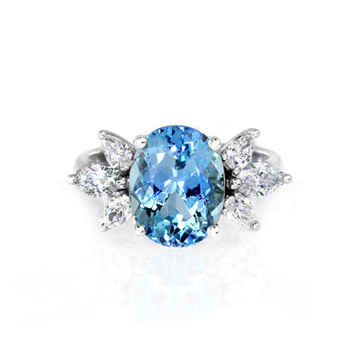 Aquamarine Diamond Cluster Ring