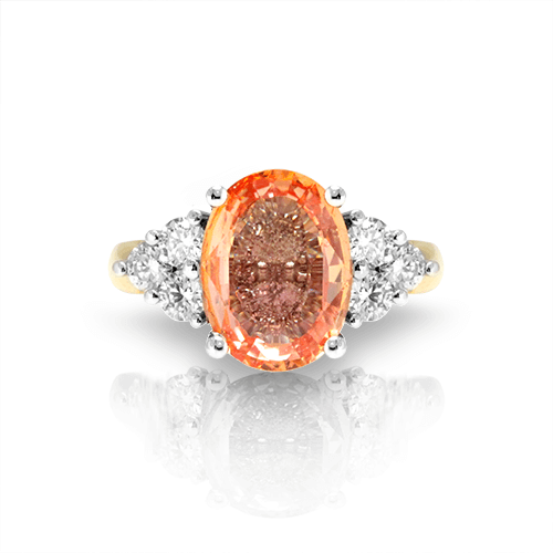 Sterling Silver Padparadscha Sapphire Ring Handmade One of a Kind Artisan Ring Made in the USA