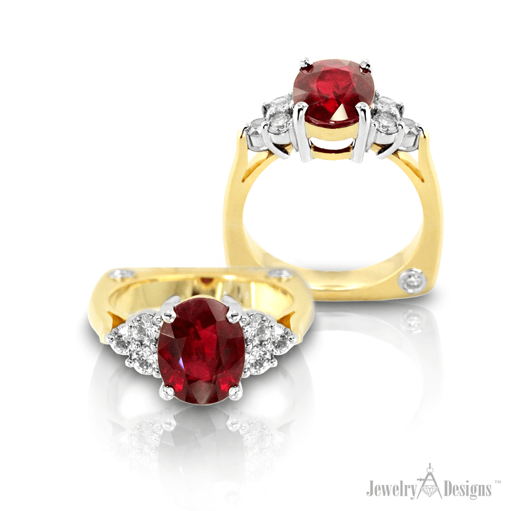 CP198-1a Oval Three Carat Ruby Ring
