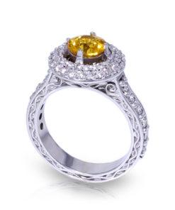 Golden Sapphire Halo Ring