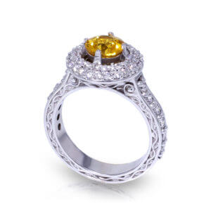 Golden Sapphire Halo Ring