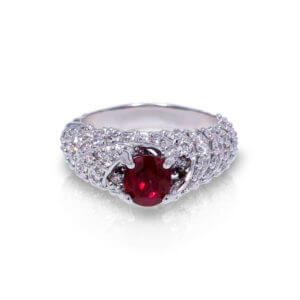 Spiraling Ruby Diamond Ring