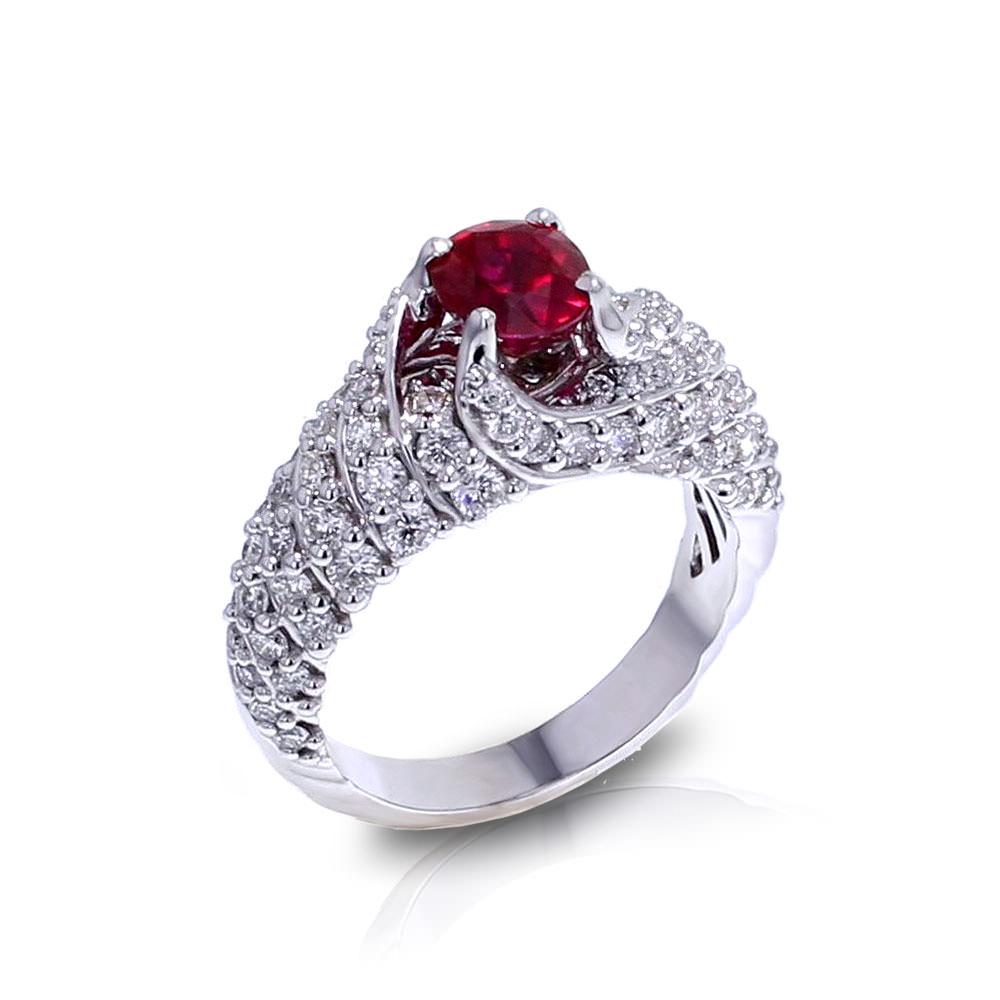 Ruby Wedding Rings.Spiraling Ruby Diamond Ring