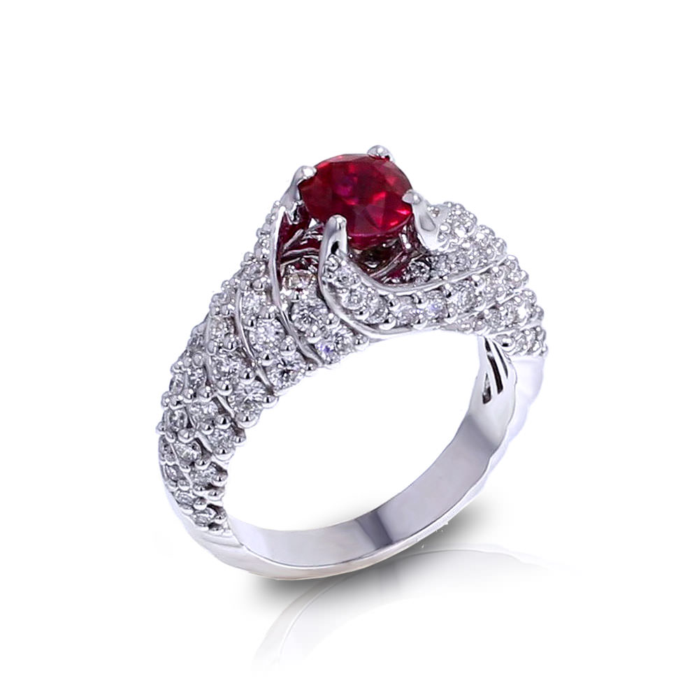 Ruby Stone White Gold Ring
