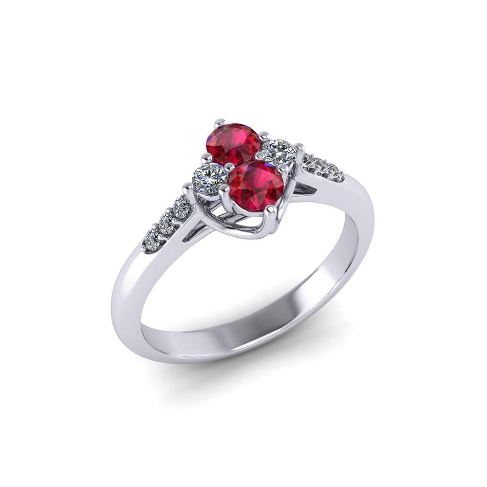 Ruby Wedding Rings.Ruby Diamond Cluster Ring