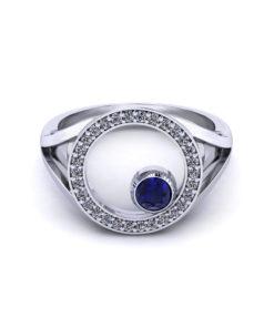 Diamond Circle Sapphire Ring
