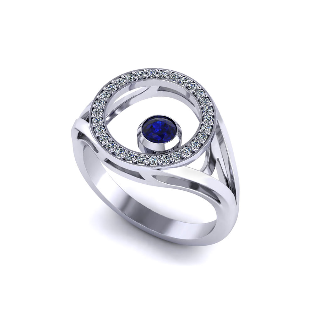 Diamond Circle Sapphire Ring Jewelry Designs