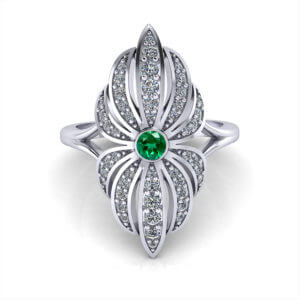 Emerald Diamond Flower Ring