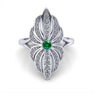 Emerald Diamond Flower Ring