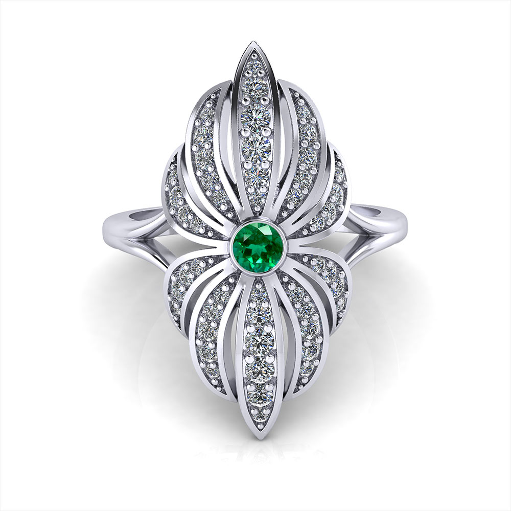 emerald in product claw browns cut set ring platinum the diamond jewellers trilogy