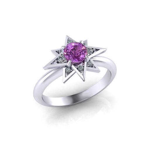 Pink Sapphire Star Ring