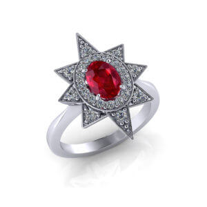 Star Halo Diamond Ruby Ring