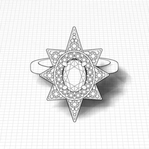 Star Halo Diamond Ruby Ring
