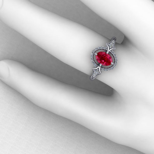 Floating Diamond Ruby Ring