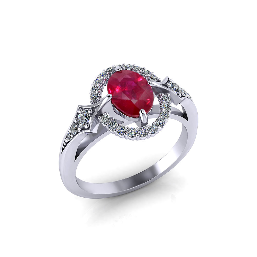 Floating Diamond Ruby Ring