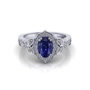 Chevron Halo Sapphire Ring