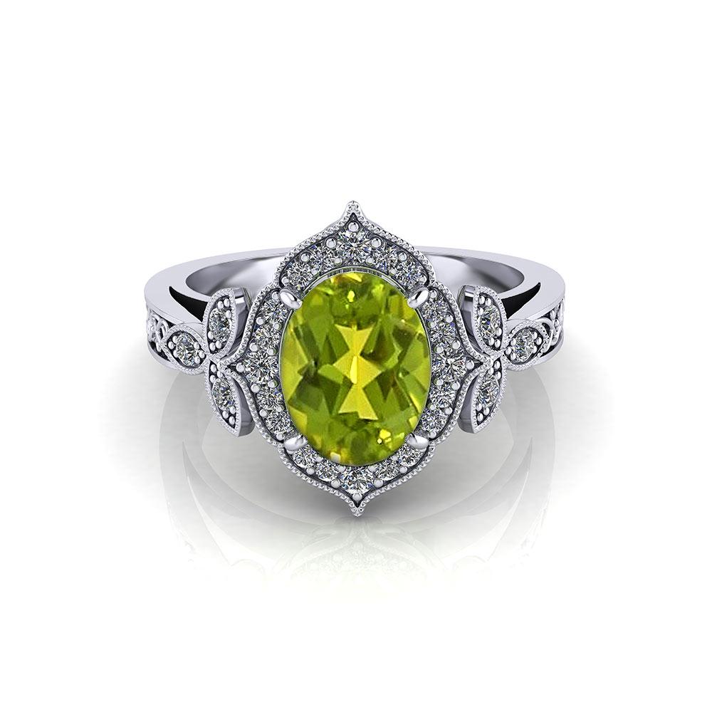 Ladies Oval Peridot Ring Jewelry Designs