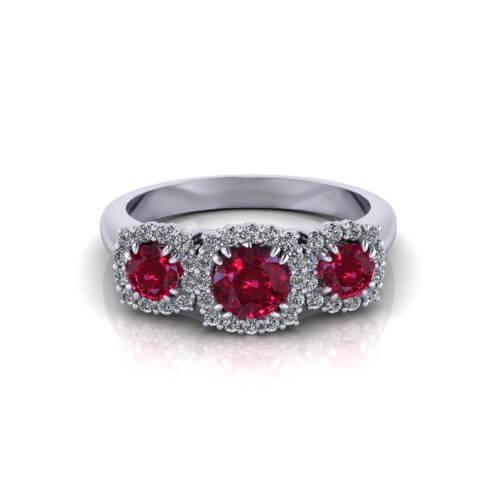 3 Stone Ruby Ring
