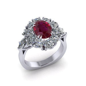 Burmese Ruby Cluster Ring
