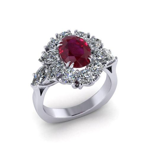 Burmese Ruby Cluster Ring