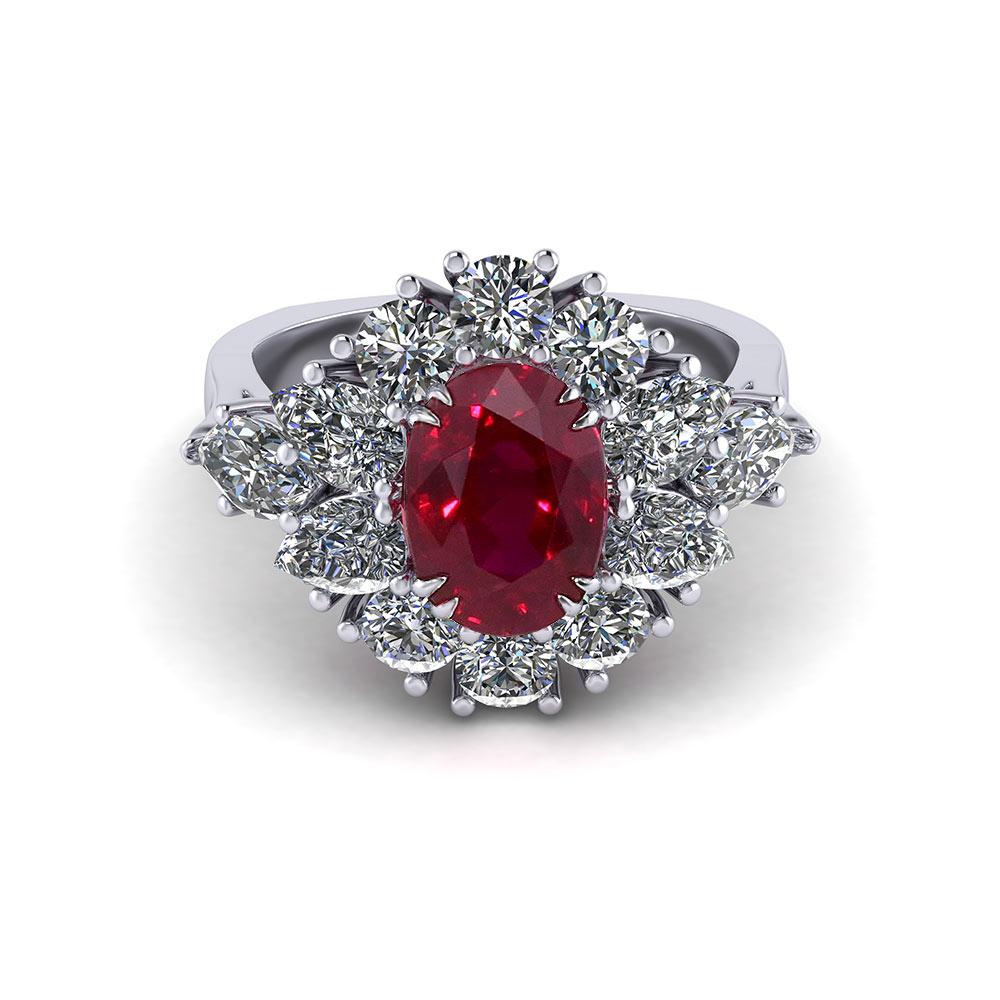 e1e11f2a0c858 Burmese Ruby Cluster Ring | Jewelry Designs