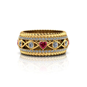 Ruby Heart Wedding Ring