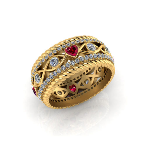 Ruby Heart Wedding Ring