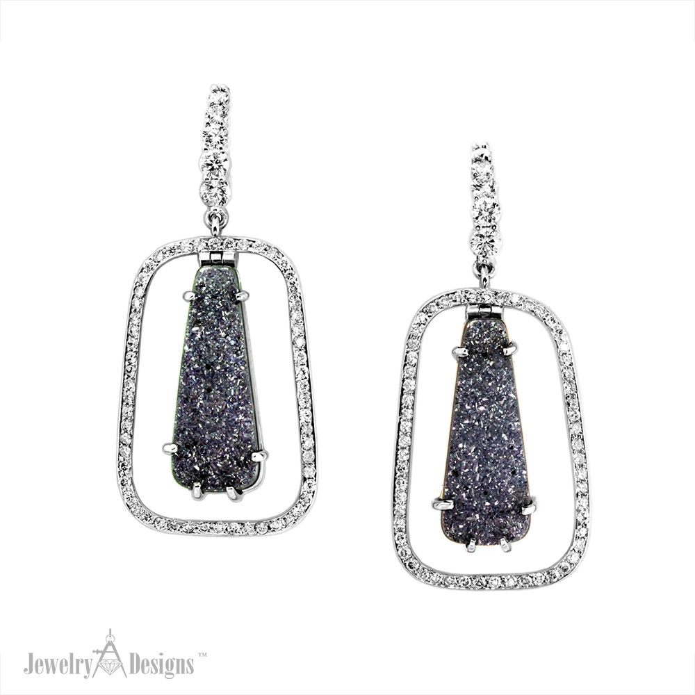 EC887-1 Black Onyx Drusy Earrings