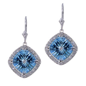 Blue Topaz Halo Earrings-close