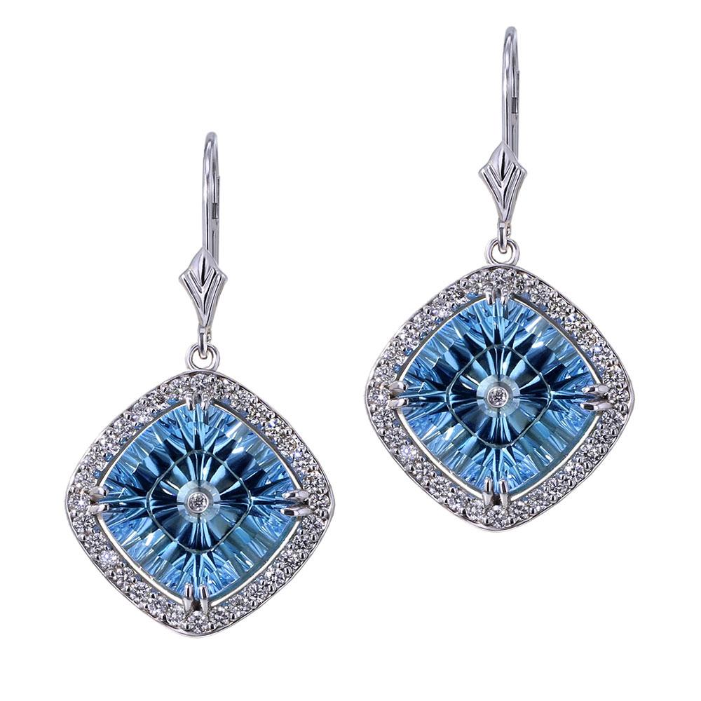 Blue Topaz Halo Earrings-close