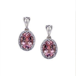 Morganite Halo Earrings