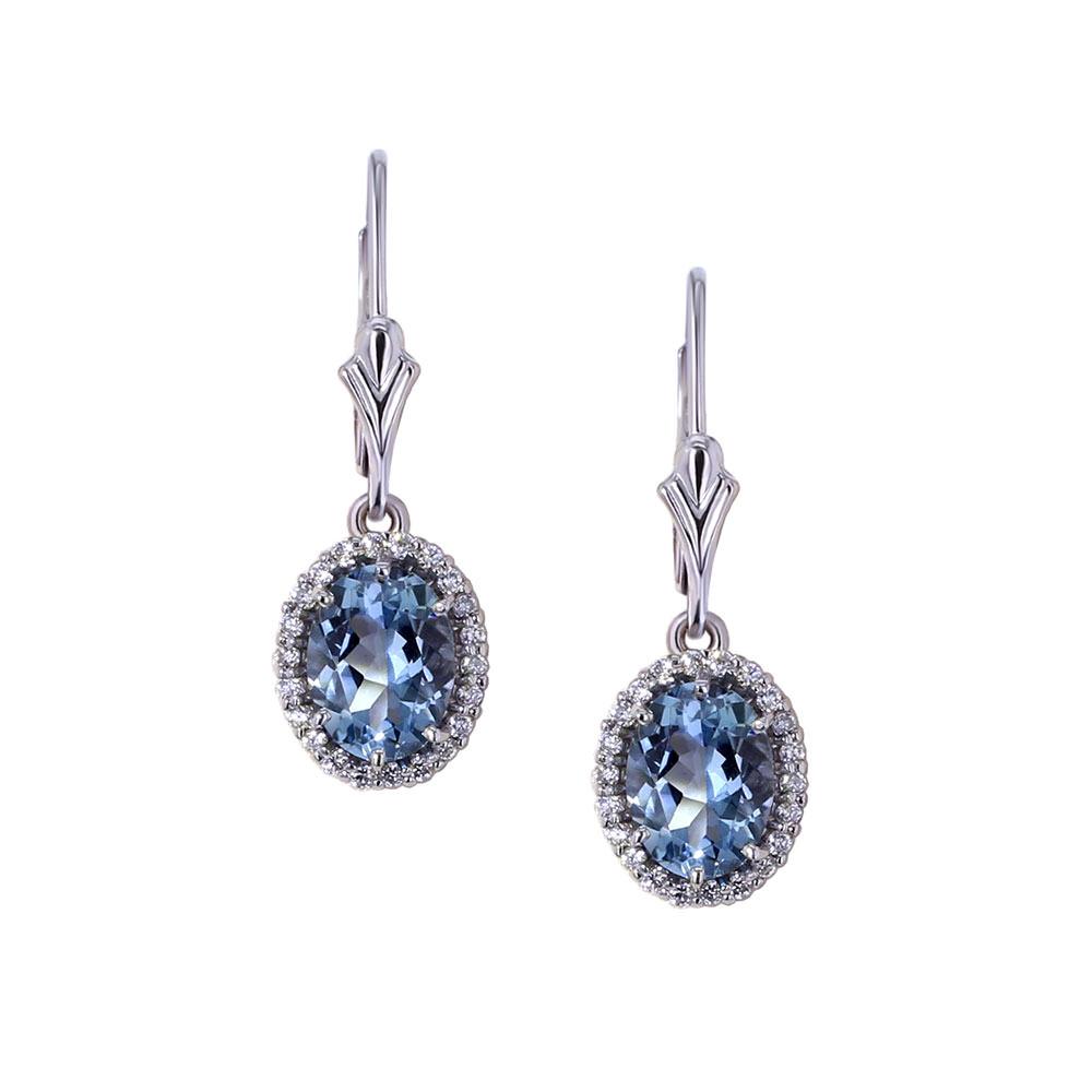 Aquamarine Halo Earrings