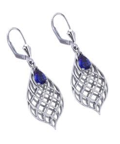 Tear Drop Woven Sapphire Earrings
