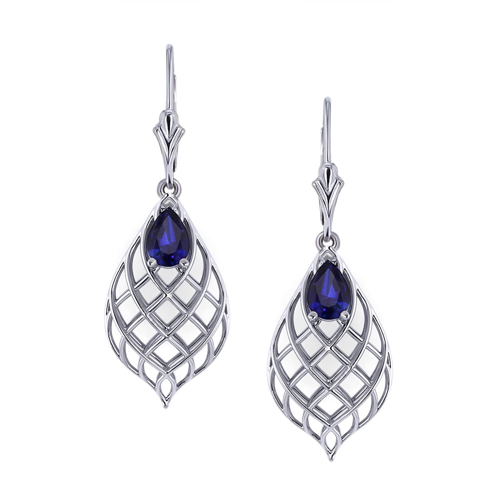 Tear Drop Woven Sapphire Earrings Jewelry Designs