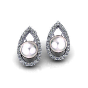 Teardrop Diamond Pearl Earrings