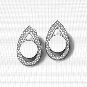 Teardrop Diamond Pearl Earrings