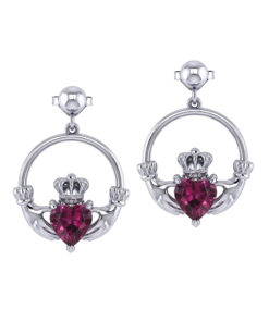 Gemstone Claddagh Earrings