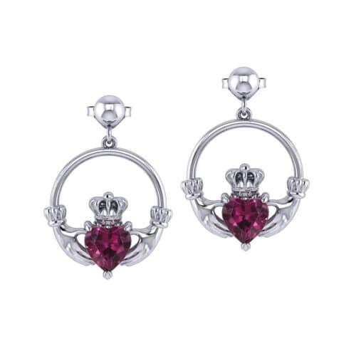 Gemstone Claddagh Earrings