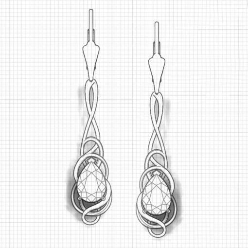Whimsical Rhodolite Dangle Earrings