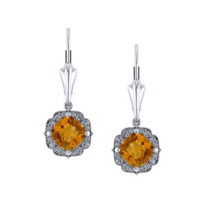 Chevron Halo Citrine Earrings