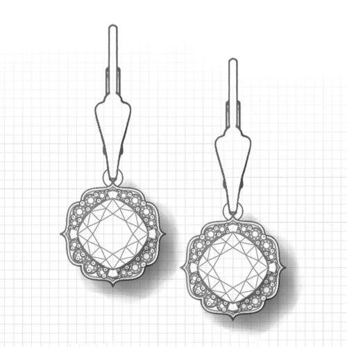 Chevron Halo Citrine Earrings