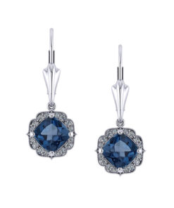 Chevron Halo Blue Topaz Earrings