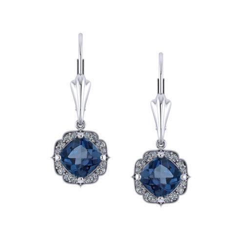 Chevron Halo Blue Topaz Earrings