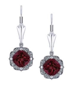 Chevron Halo Garnet Earrings